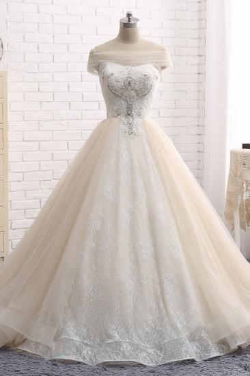 BMbridal Unique Champagne Bateau Lace Wedding Dresses With Appliques Tulle Ruffles Bridal Gowns Online_1