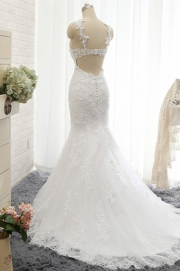 BMbridal Elegant Straps Sweetheart Lace Wedding Dress Sexy Backless Sleeveless Appliques Bridal Gowns with Beadings_3