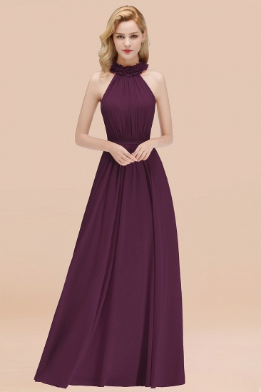 Modest High-Neck Halter Ruffle Chiffon Bridesmaid Dresses Affordable_20
