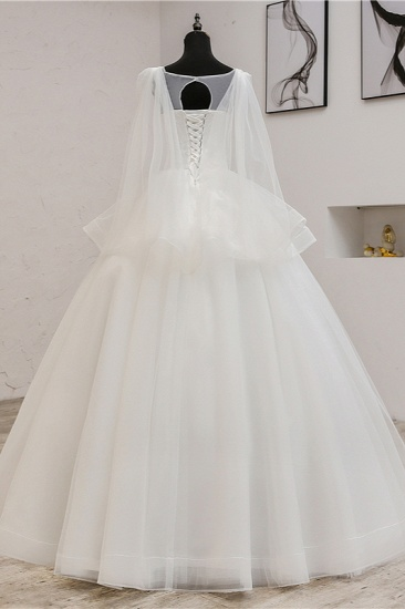 Gorgeous Jewel Sleeveless White Wedding Dress Tulle Appliques Bridal Gowns Online_3