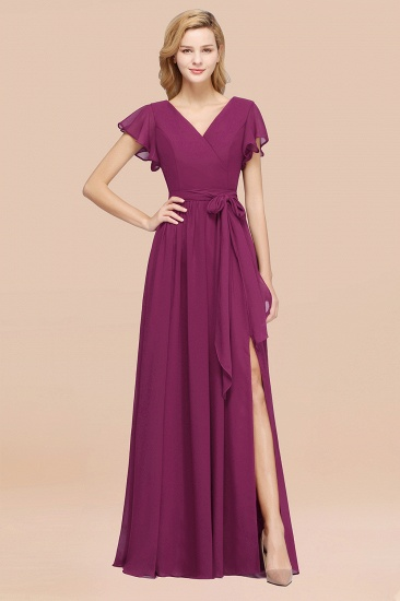 BMbridal Burgundy V-Neck Long Bridesmaid Dress With Short-Sleeves_42