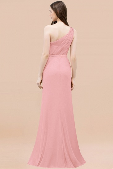 BMbridal Affordable Mermaid One shoulder Pink Bridesmaid Dresses with Flowers_52