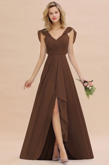 Modest Hi-Lo V-Neck Ruffle Long Bridesmaid Dress with Slit_12