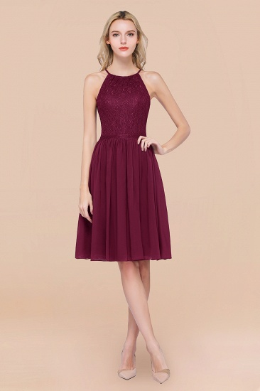 Lovely Burgundy Lace Short Bridesmaid Dress With Spaghetti-Straps_44