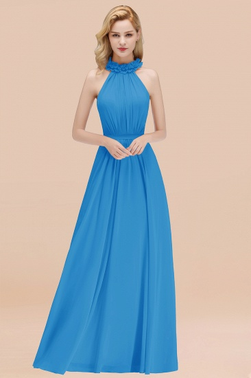 Modest High-Neck Halter Ruffle Chiffon Bridesmaid Dresses Affordable_25