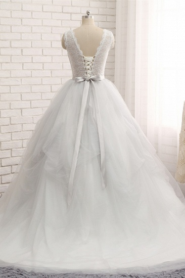 BMbridal Affordable White Sleeveless Tulle Wedding Dresses With Appliques A-line Jewel Bridal Gowns Online_3
