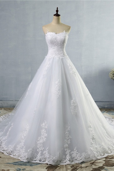 Stylish Strapless Sweetheart A-Line Wedding Dress Sleeveless Appliques Bridal Gowns Online