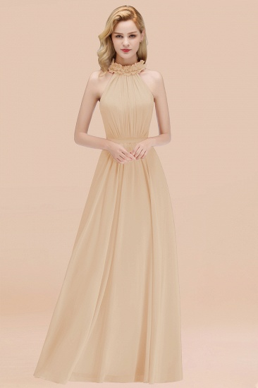 Modest High-Neck Halter Ruffle Chiffon Bridesmaid Dresses Affordable_14