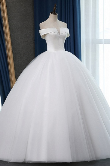 Glamorous Off-the-shoulder A-line Tulle Wedding Dresses White Ruffles Bridal Gowns On Sale_4