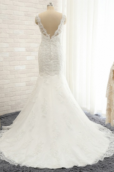 Gorgeous Sleeveless Appliques Beadings Wedding Dress Jewel Tulle White Bridal Gowns On Sale_3