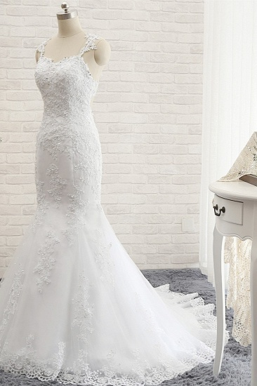 BMbridal Elegant Straps Sweetheart Lace Wedding Dress Sexy Backless Sleeveless Appliques Bridal Gowns with Beadings_4