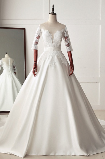Stunning Jewel Satin Tulle White Wedding Dress Half Sleeves Appliques Bridal Gowns Online_1