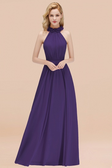 Modest High-Neck Halter Ruffle Chiffon Bridesmaid Dresses Affordable_19