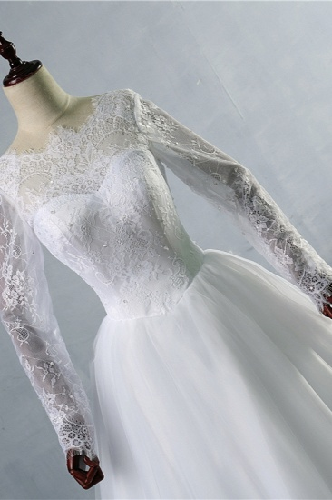 BMbridal Elegant Jewel Tulle Lace Wedding Dress Long Sleeves Appliques Sequins Bridal Gowns On Sale_6