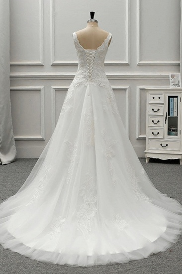 BMbridal Chic Straps Jewel Tulle Lace Wedding Dress Sleeveless Appliques White Bridal Gowns On Sale_3
