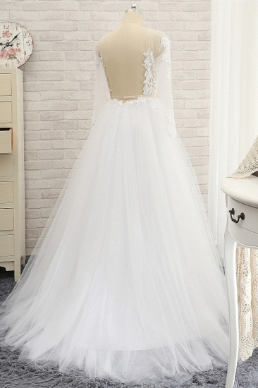 Affordable White Tulle Ruffles Lace Wedding Dresses Jewel Longsleeves Bridal Gowns With Appliques On Sale_3
