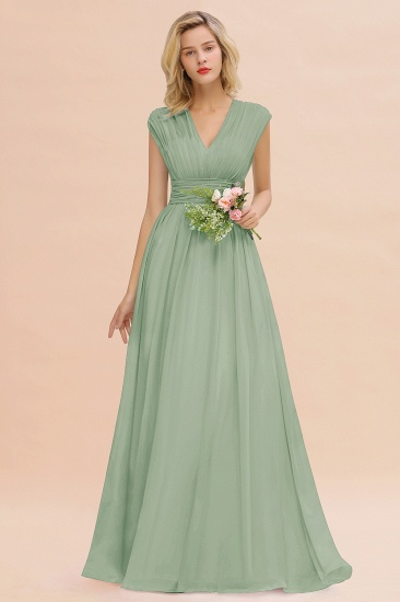 Elegant Chiffon V-Neck Ruffle Long Bridesmaid Dresses Affordable_41