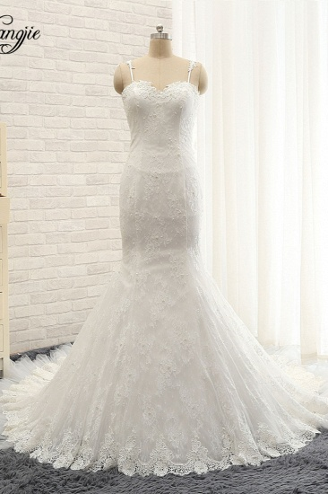 BMbridal Sexy Spaghetti Straps Sleeveless Wedding Dresses With Appliques White Mermaid Lace Bridal Gowns Online_1