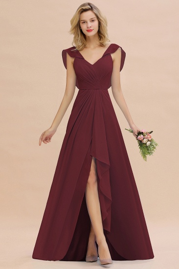 BMbridal Modest Hi-Lo V-Neck Ruffle Long Bridesmaid Dress with Slit_10