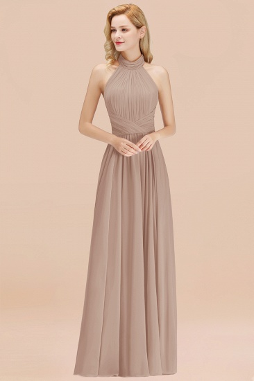 Gorgeous High-Neck Halter Backless Bridesmaid Dress Dusty Rose Chiffon Maid of Honor Dress_16