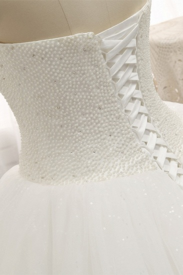BMbridal Chic Sweetheart Pearls White Wedding Dresses A-line Tulle Ruffles Bridal Gowns Online_6