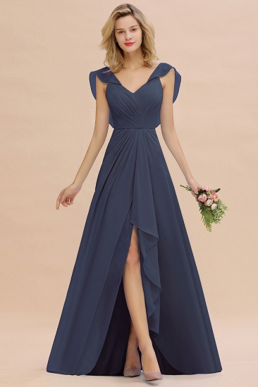 Modest Hi-Lo V-Neck Ruffle Long Bridesmaid Dress with Slit_39