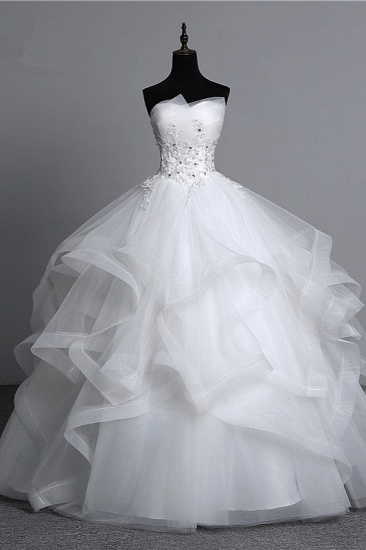 Gorgeous Strapless Tulle Layers Wedding Dress Appliques Beadings Bridal Gowns Online_1