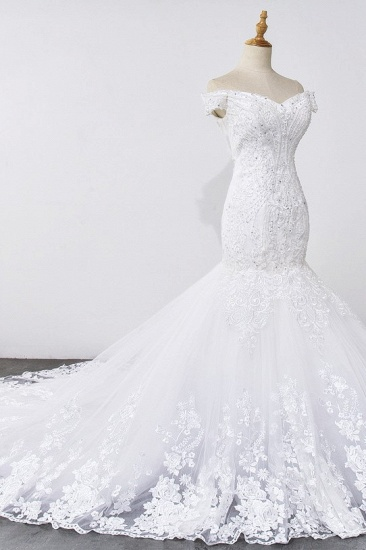 Gorgeous Off-the-Shoulder Mermaid White Wedding Dress Sweetheart Sleeveless Appliques Bridal Gowns with Rhinestones On Sale_7