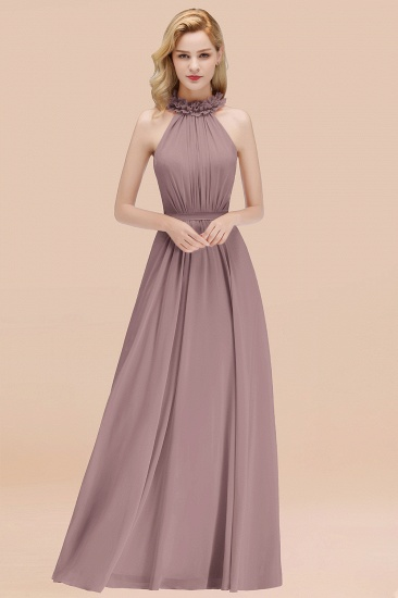 Modest High-Neck Halter Ruffle Chiffon Bridesmaid Dresses Affordable_37
