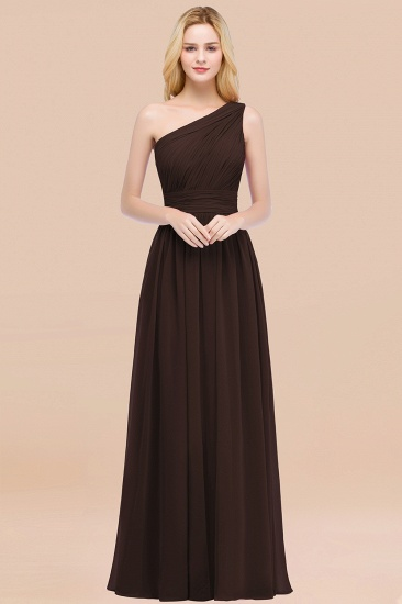 Chic One-shoulder Sleeveless Burgundy Chiffon Bridesmaid Dresses Online_11