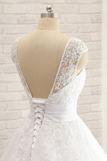 Affordable V-Neck Tulle Lace Wedding Dress A-Line Sleeveless Appliques Bridal Gowns with Beadings Online_6