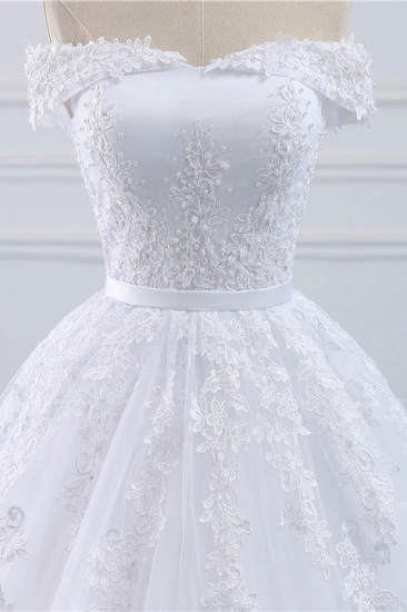 BMbridal Affordable White Off-the-shoulder Lace Wedding Dresses With Appliques Tulle Ruffles Bridal Gowns On Sale_5