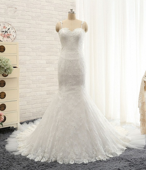 BMbridal Sexy Spaghetti Straps Sleeveless Wedding Dresses With Appliques White Mermaid Lace Bridal Gowns Online_6