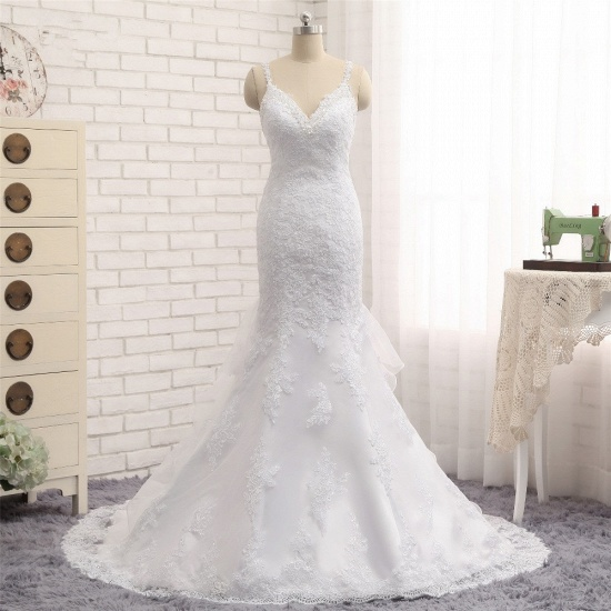 BMbridal Elegant V-neck White Mermaid Wedding Dresses Sleeveless Lace Bridal Gowns With Appliques On Sale_7
