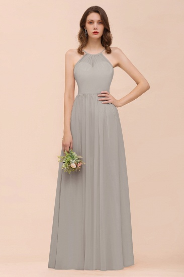 BMbridal Gorgeous Chiffon Halter Ruffle Affordable Long Bridesmaid Dress_30