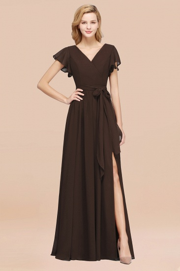 BMbridal Burgundy V-Neck Long Bridesmaid Dress With Short-Sleeves_11
