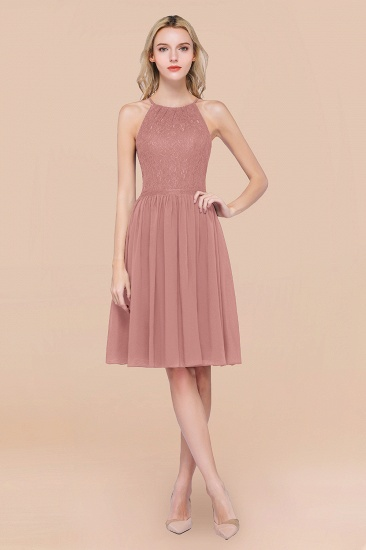 Lovely Burgundy Lace Short Bridesmaid Dress With Spaghetti-Straps_50