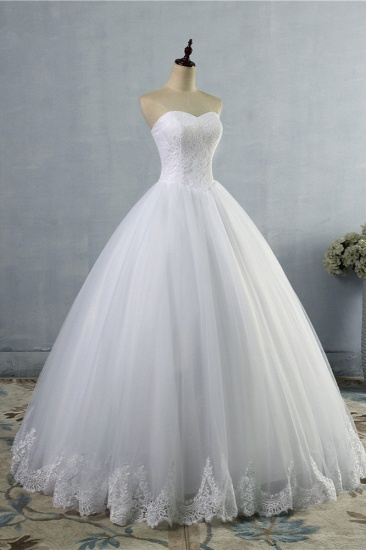 Affordable Strapless Sweetheart Tulle Wedding Dress Sleeveless Lace Appliques Bridal Gowns On Sale_4
