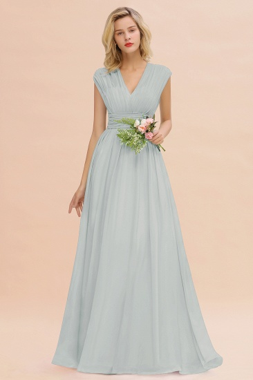 Elegant Chiffon V-Neck Ruffle Long Bridesmaid Dresses Affordable_38