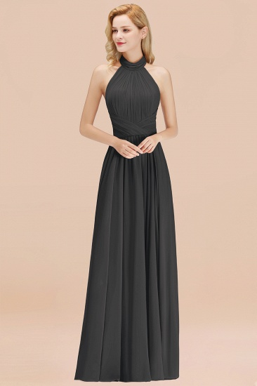 Gorgeous High-Neck Halter Backless Bridesmaid Dress Dusty Rose Chiffon Maid of Honor Dress_46