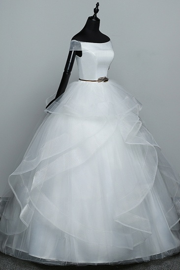 Elegant Off-the-Shoulder Organza Wedding Dress Sleeveless Ruffles Bridal Gowns with Beading Sash_4