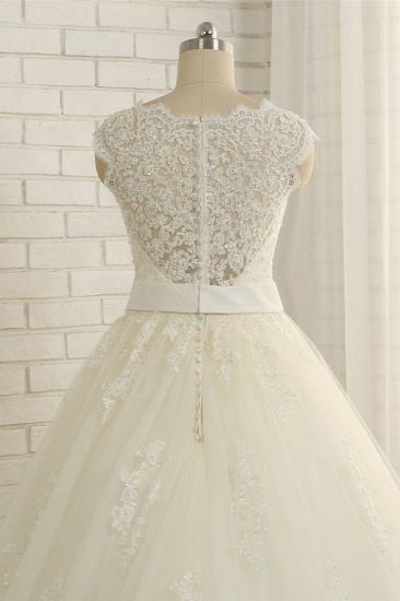 BMbridal Sexy Straps Sleeveless Lace Wedding Dresses With Appliques A line Tulle Ruffles Bridal Gowns On Sale_5