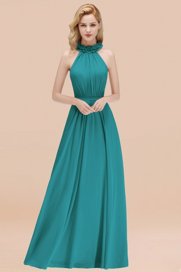 Modest High-Neck Halter Ruffle Chiffon Bridesmaid Dresses Affordable_32