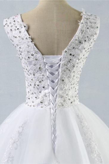 Stunning V-Neck Sequins Tulle Wedding Dresses A-Line Lace Appliques Bridal Gowns Online_6