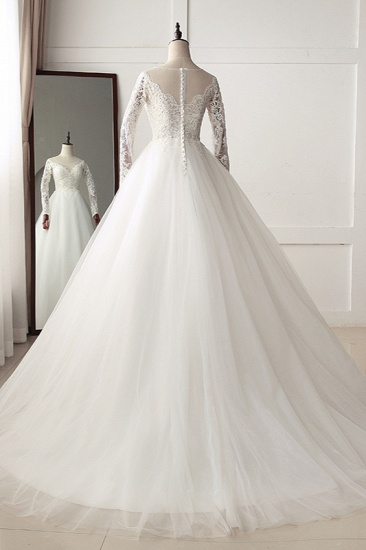 BMbridal Elegant Jewel Tulle Lace White Wedding Dress A-Line Long Sleeves Appliques Bridal Gowns On Sale_3