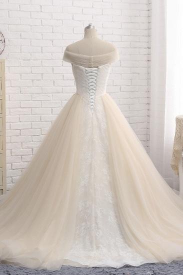 BMbridal Unique Champagne Bateau Lace Wedding Dresses With Appliques Tulle Ruffles Bridal Gowns Online_3