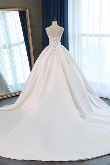 Elegant Sweetheart White Satin Wedding Dress A-line Ruffles Bridal Gowns On Sale_3