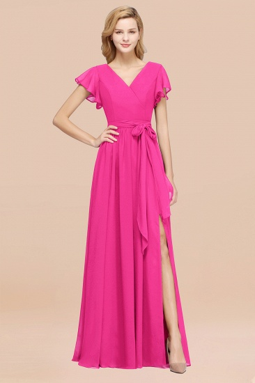 BMbridal Burgundy V-Neck Long Bridesmaid Dress With Short-Sleeves_9