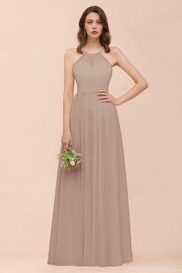 BMbridal Gorgeous Chiffon Halter Ruffle Affordable Long Bridesmaid Dress_16