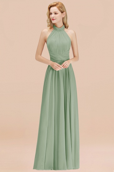Gorgeous High-Neck Halter Backless Bridesmaid Dress Dusty Rose Chiffon Maid of Honor Dress_41
